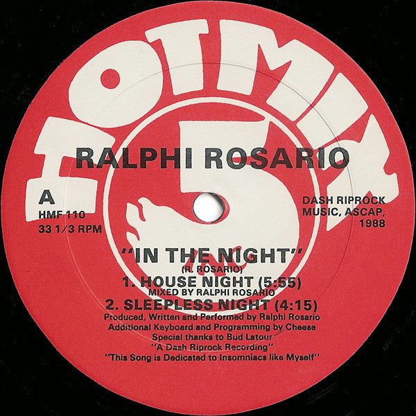 "Ralphi Rosario - In The Night - VG+ 12"" Single USA 1998 - Chicago House"
