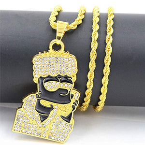 Black Bart Simpson Rapper Stainless Steel 14K Gold Plated Necklace