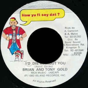"Brian And Tony Gold- I'd Die Without You- VG 7"" Single 45RPM- 1992 How Yu Fi Sey Dat? Jamaica- Reggae"