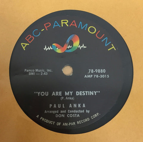 "10"" Paul Anka - You Are My Destiny / When I Stop Loving You VG+ 78-9880 USA 1957"