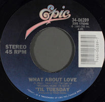 'Til Tuesday ‎– What About Love / Will She Just Fall Down - Mint- 45rpm 1986 USA - Rock / Alt Rock