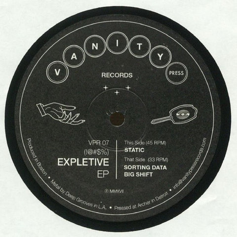 "!@#$% ‎– Expletive EP - New 12"" Single 2018 Vanity Press USA Vinyl - Detroit Acid Techno / Electro"