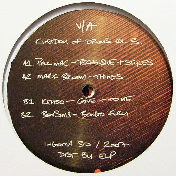 Ben Sims/Paul Mac/Mark Boom/Kehso/Cave & More - Kingdom Of Drums Vol. 3 - Mint- 2 Lp Set (UK Import) 2007 - Techno/Tribal