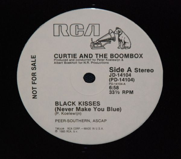 "Curtie And The Boombox ‎– Black Kisses (Never Make You Blue) - Mint- 12"" Single Promo 1985 USA - Synth-Pop / Disco"