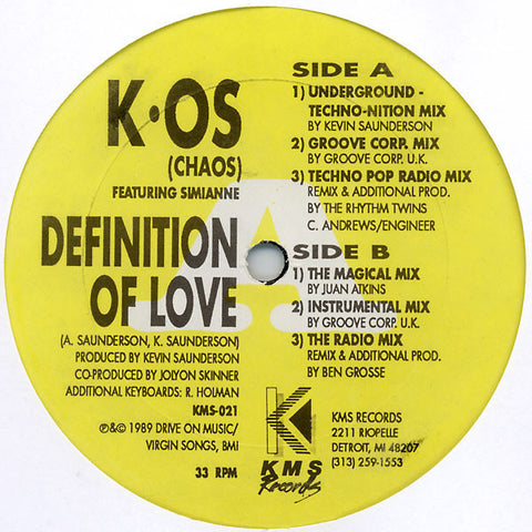 "K.OS (Chaos)(Kevin Saunderson) Featuring Simianne ‎– Definition Of Love - VG+ 12"" Single USA  1989 - Detroit House"