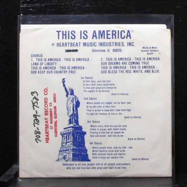 "Johnny Frigo Singers - This Is America 7"" VG+ Vinyl 45 priv lbl HB-56 USA 1989"
