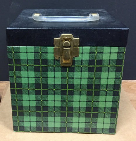 "7"" 45 Vintage Carry Carrying Case - Blackwatch Green Color - Shuga Records Chicago"