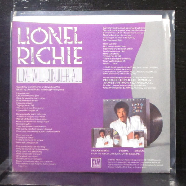 "Lionel Richie - Love Will Conquer All / The Only One 7"" VG+ Vinyl 45 1866 MF USA"