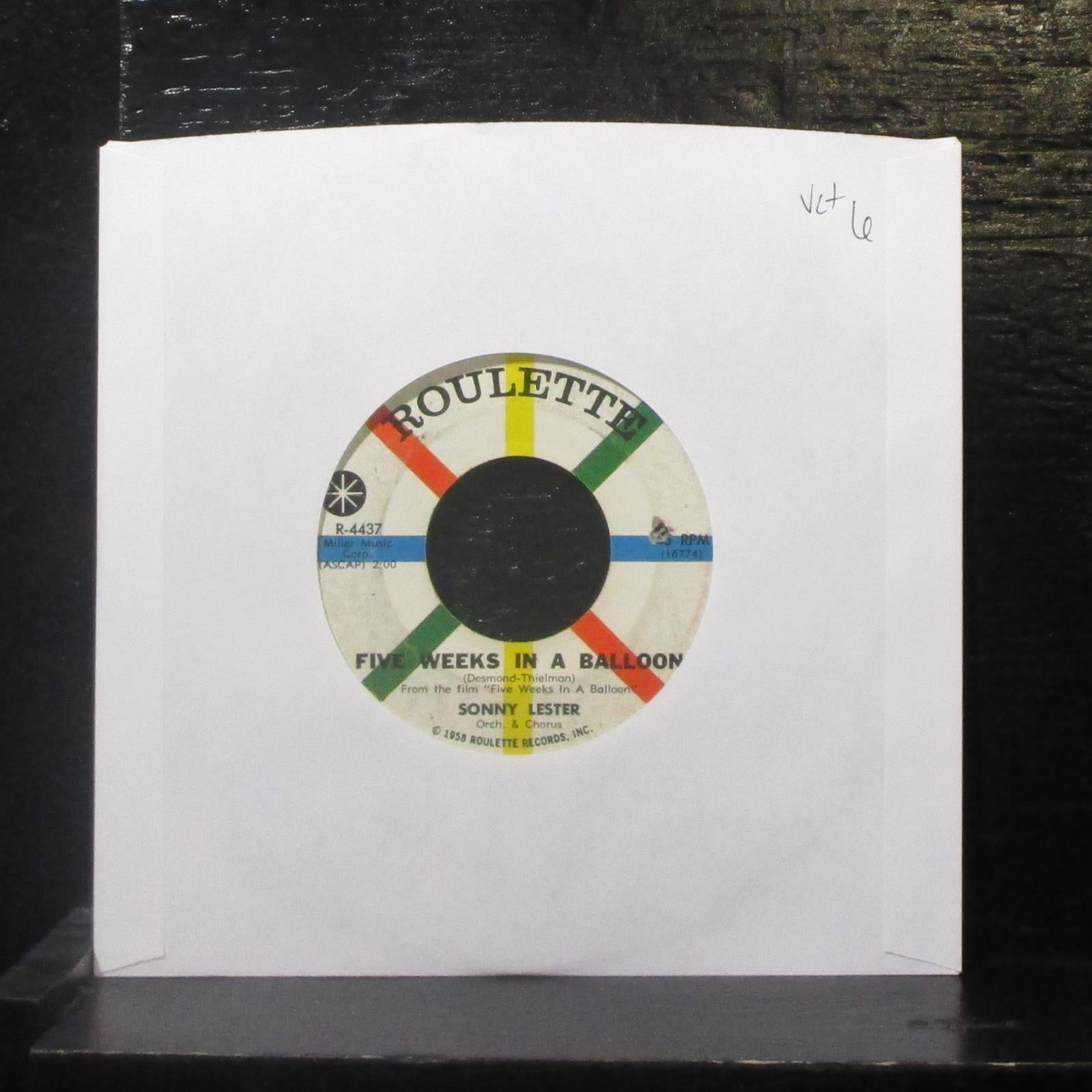 "Sonny Lester - Five Weeks In A Balloon / Summer 7"" VG+ Vinyl 45 Roulette R-4437"