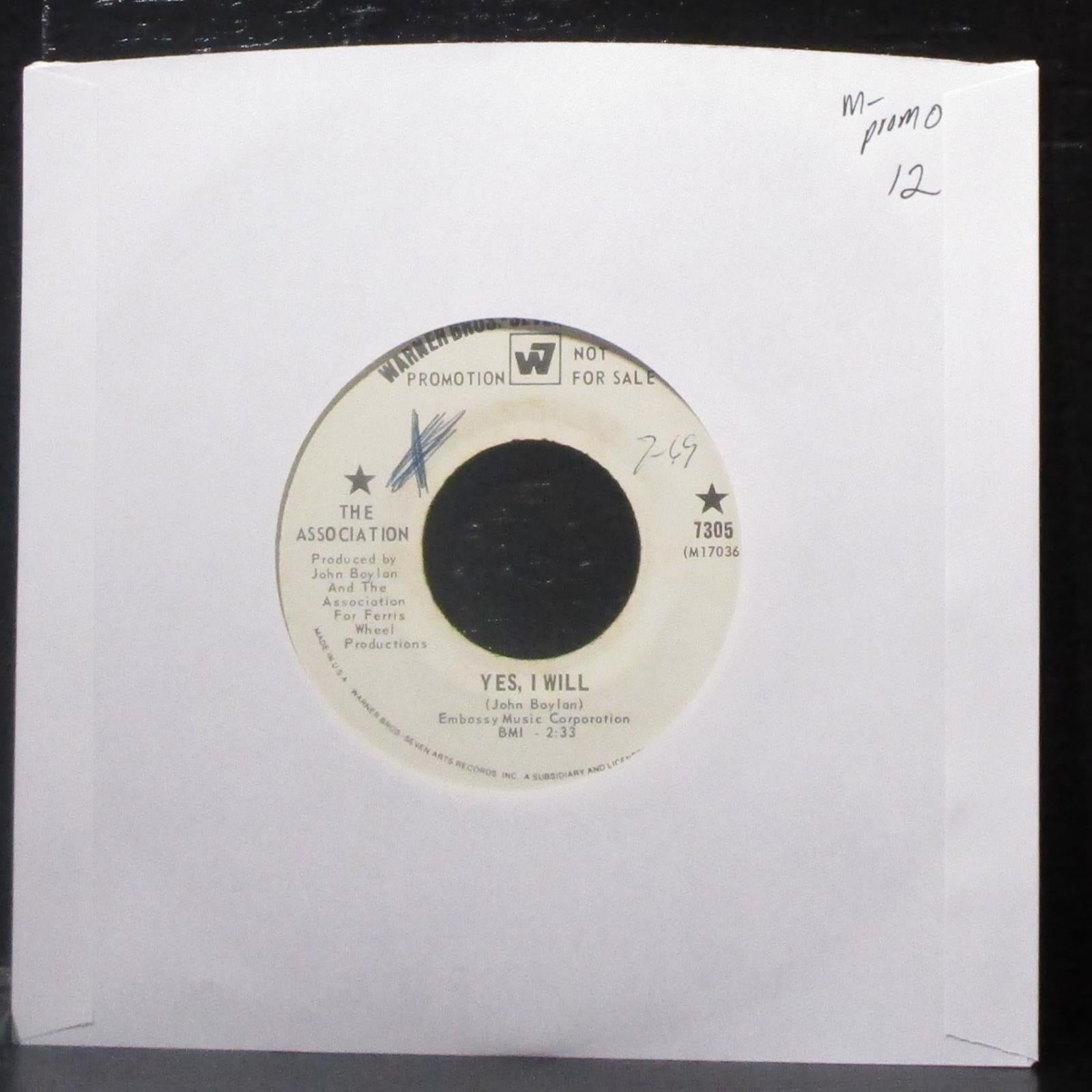 "The Association - Yes, I Will / I Am Up For Europe 7"" Mint- Promo Vinyl 45 WB"
