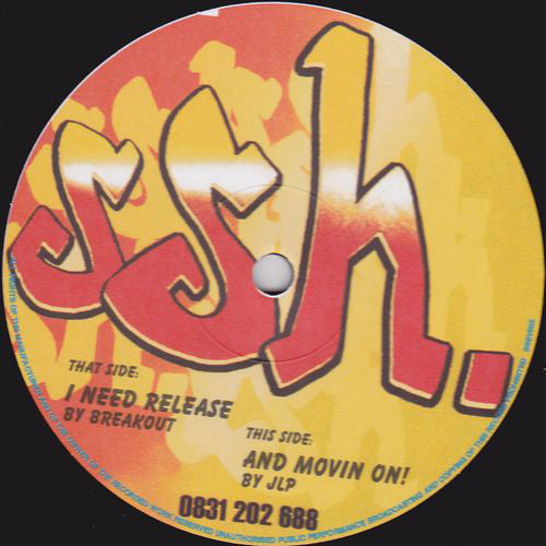 "Breakout / JLP ‎– I Need Release / And Movin On! - VG- (Low Grade) 12"" SIngle UK Import 1990's - House"