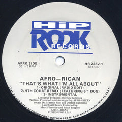 "Afro-Rican - That's What I'm All About - VG+ 12"" Single USA 1993 - Bass Music/Electro/Hip Hop"