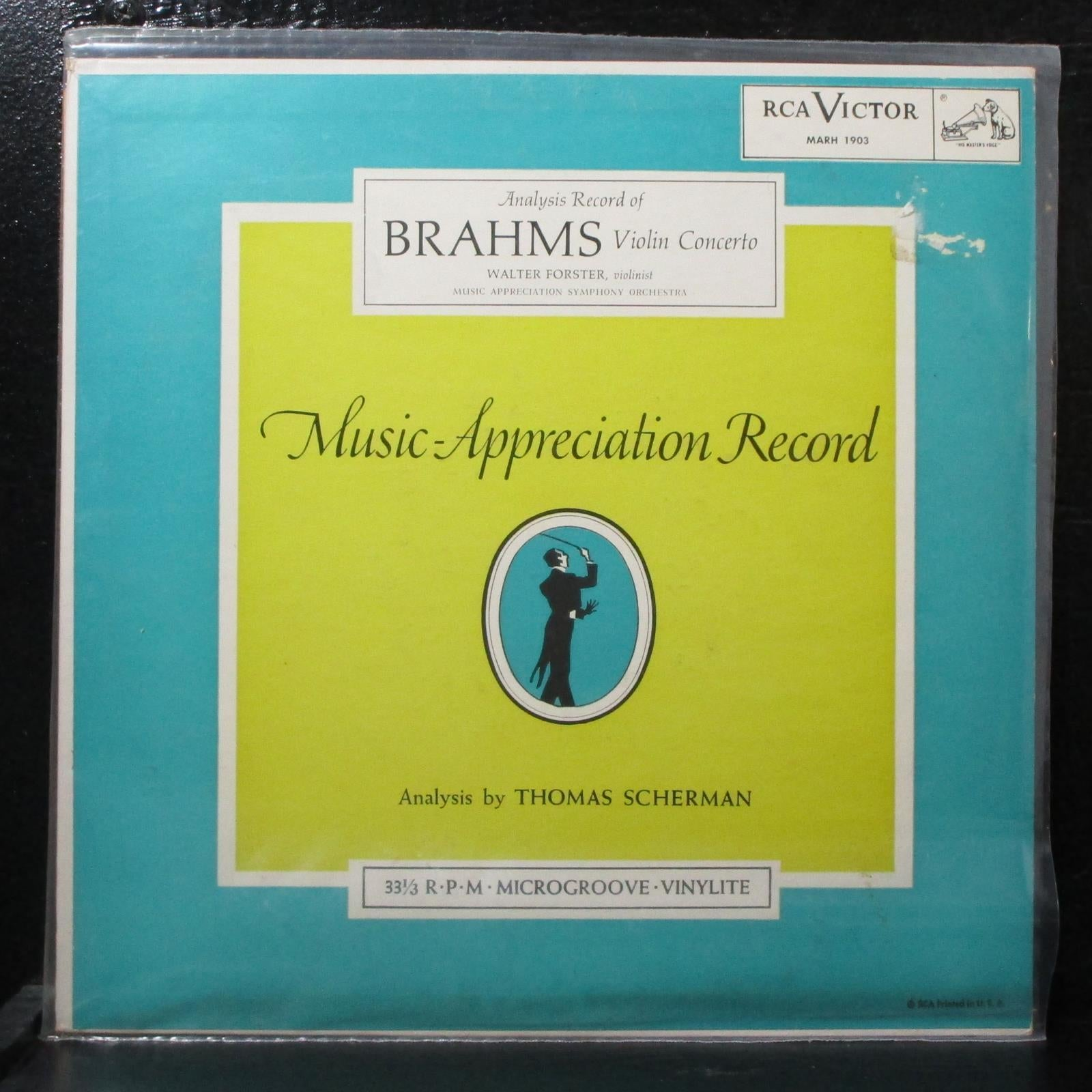 "Forster - Analysis Record of Brahms Violin Concerto VG+ Mono 10"" LP MARH 1903"
