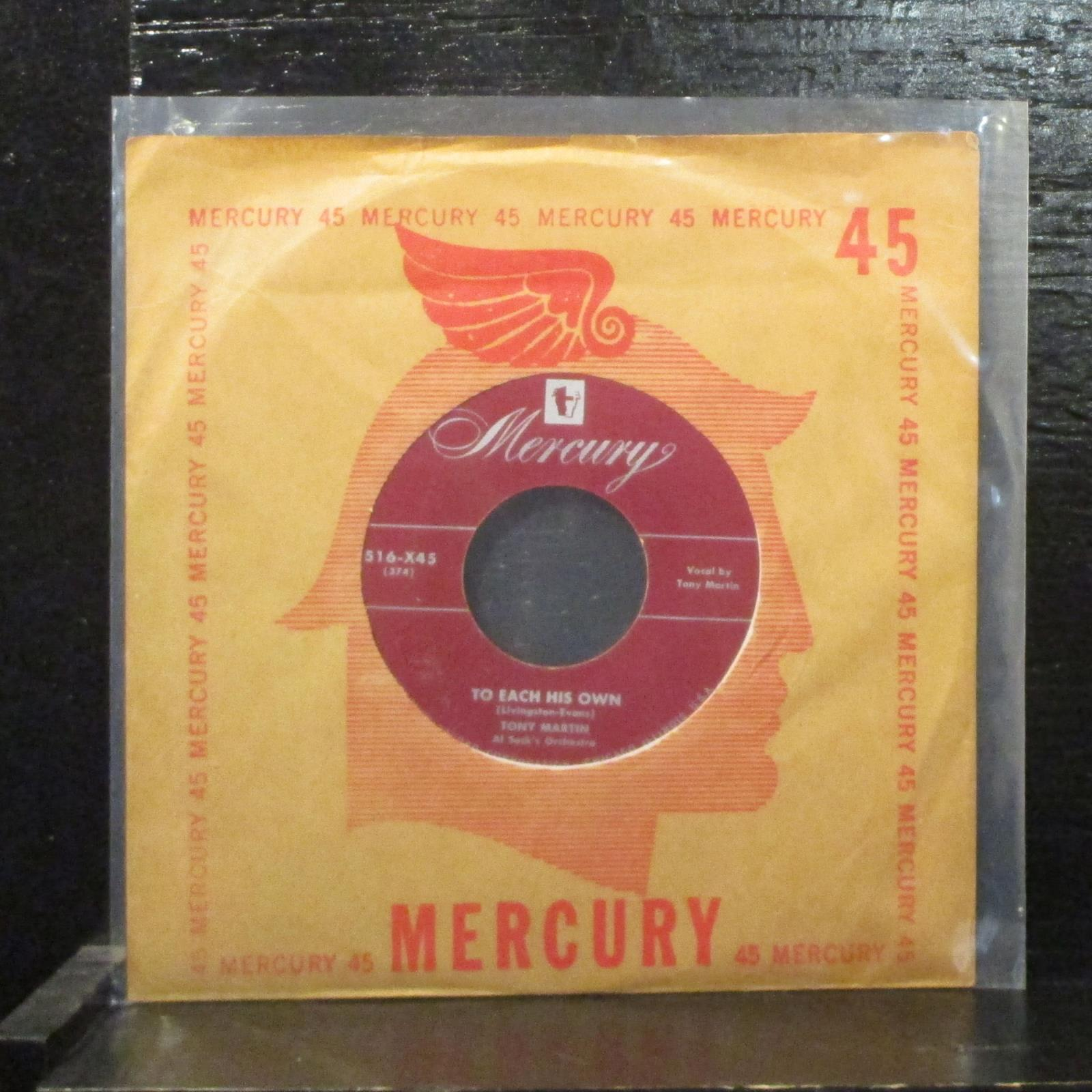 "Tony Martin  To Each His Own Mint- 7"" Vinyl 45 Mercury 516-X45 Folk / Country"
