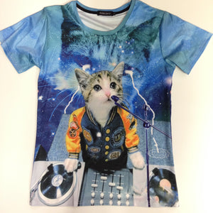 Cat DJ - 88% Polyester / 12% Spandex Blend T-Shirt