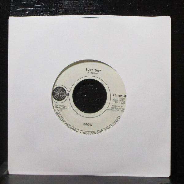 "Crow - Time To Make A Turn / Busy Day 7"" VG+ Promo Amaret 45-106 USA 1969"