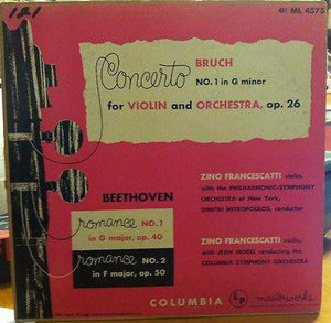Zino Francescatti ‎– Concerto No. 1 In G Minor For Violin And Orchestra, Op. 26 - VG+ 1951 Mono USA Original Press Record - Classical