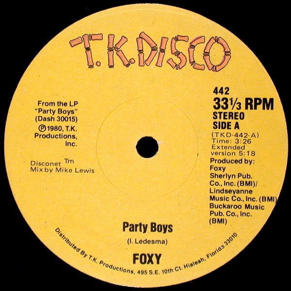 "Foxy - Party Boys Mint- - 12"" Single 1980 T.K. Disco USA - Disco"