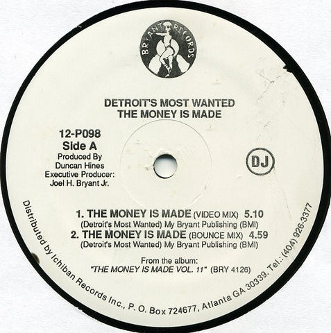 Detroit's Most Wanted ‎– The Money Is Made - VG+ White Label Promo 1992 USA - Hip Hop