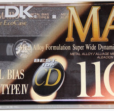 New Sealed TDK MA110 Metal Biased Metal Alloy 110 Minutes Cassette Tape