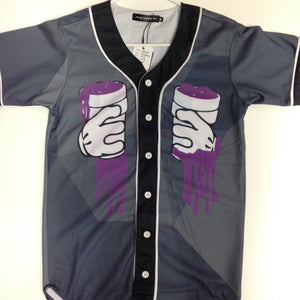Mr. Bao Long & Miss.GO - Black and Gray Purple Drank Button Down Jersey