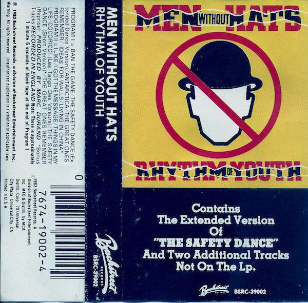Men Without Hats - Rhythm Of Youth VG+ - 1983 Backstreet USA Cassette - Synth-Pop