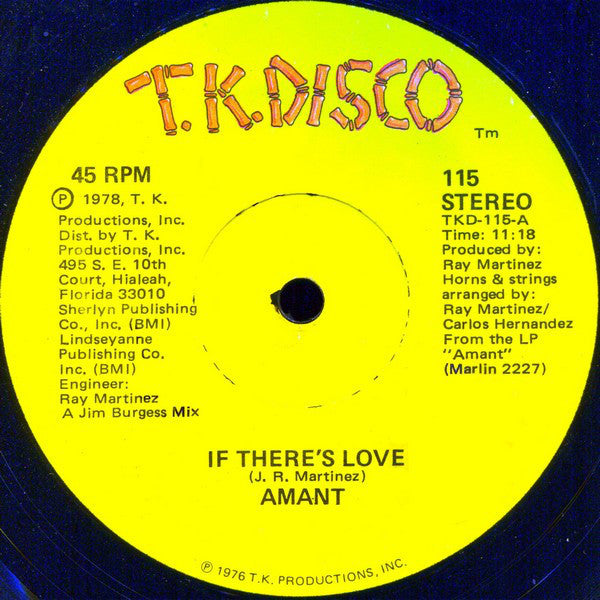 "Amant ‎– If There's Love / Hazy Shades Of Love VG+ 12"" Single 45RPM Stereo 1978 T.K. Disco USA - Disco"