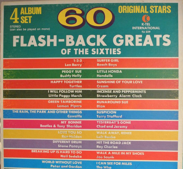 Buddy Holly/The Beatles/Beach Boys/James Brown & Various - 60 Flash-Back  Greats Of The Sixties - VG Stereo 4 Lp Set 1972 USA - Rock/Pop/Soul/Funk