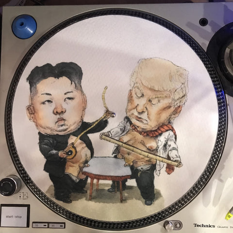 Shuga Records 2018 Limited Edition Vinyl Record Slipmat - Donald Trump Vs. Kim Jong Un Small Penis Slip Mat