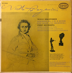Arthur Grumiaux With Franco Gallini Conducting The L'Orchestre Des Concerts Lamoureux ‎– Niccolò Paganini - Concerto No. 4 In D Minor / Concerto No. 1 In D Major - VG+ 1955 Mono USA Original Press Record - Classical