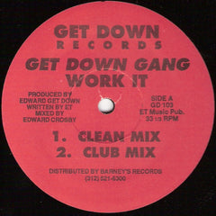 "Get Down Gang - Work It VG - 12"" Single 1991 Get Down USA - Chicago House"