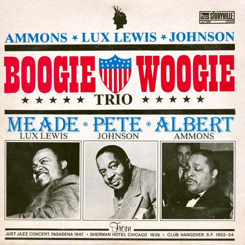Albert Ammons & Meade Lux Lewis & Pete Johnson ‎– Boogie Woogie Trio - VG+ 1976 Storyville Mono Compilation USA - Blues