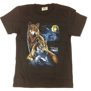 Wolf Family Under the Moon - 100% Cotton Black T-Shirt