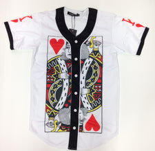 King Of Hearts - White Button Down Jersey