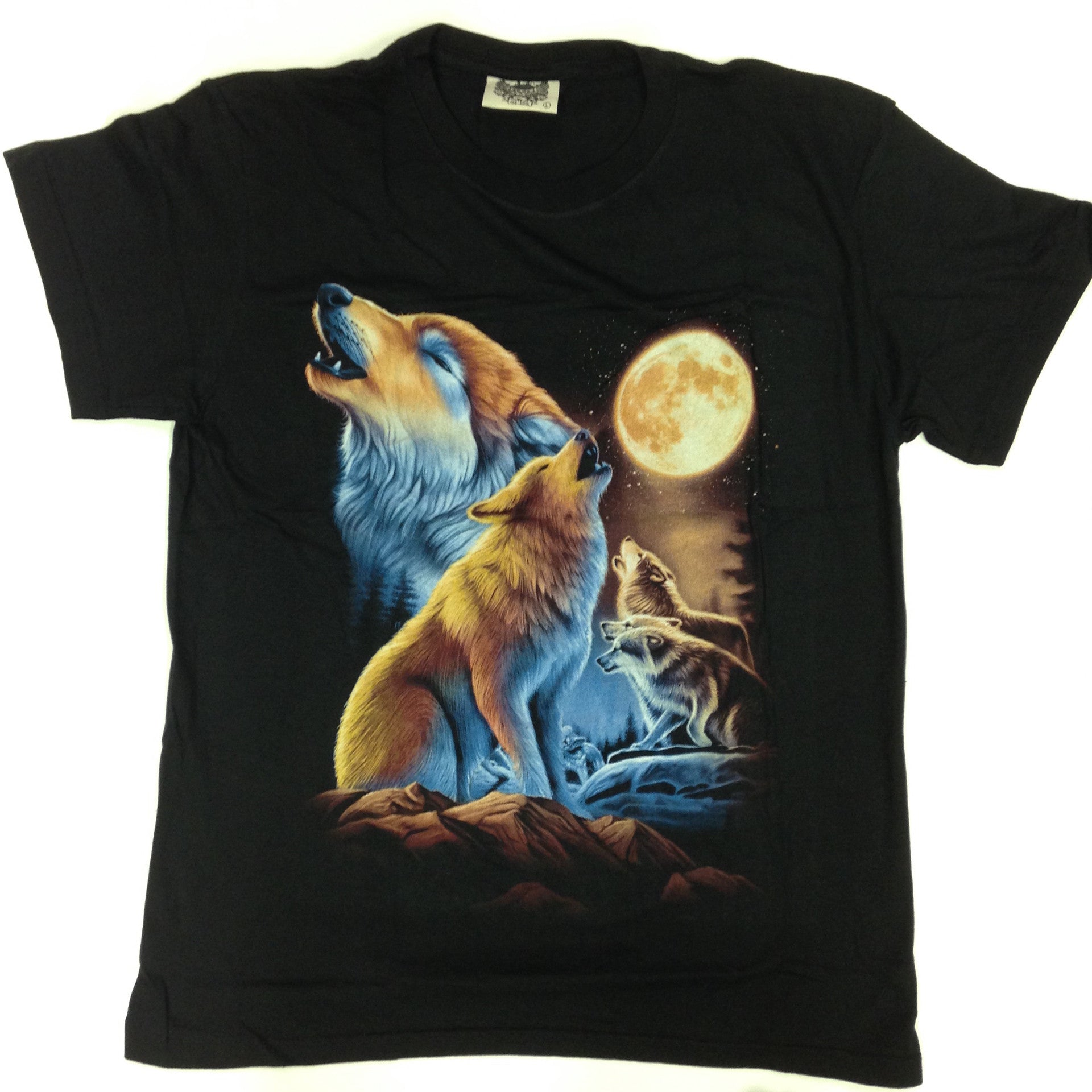 Wolfpack under Red Moon - 100% Cotton Black T-Shirt