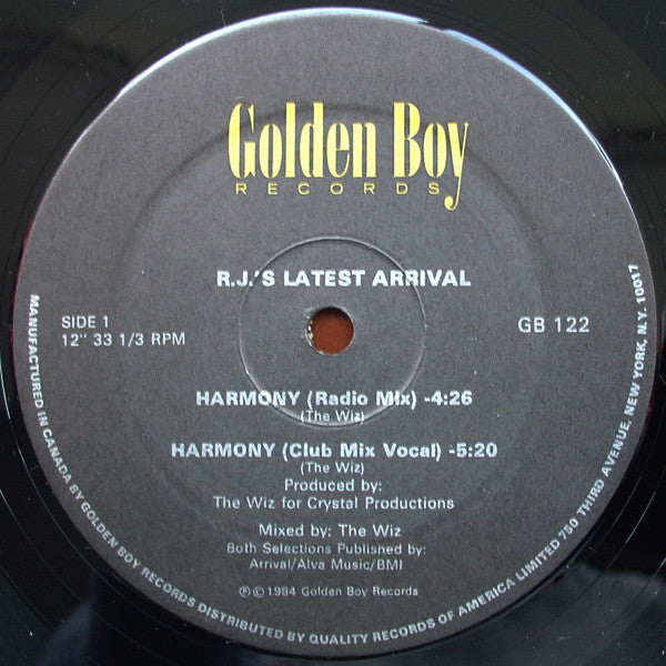 "R.J.'s Latest Arrival - Harmony Mint- - 12"" Single 1984 Golden Boy USA - Disco"