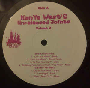 "Kanye West - Unreleased Joints Volume 6 - 12"" Single 2004 (RARE Unofficial!!) USA - Hip Hop"