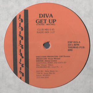 "Diva ‎– Get Up - VG- 12"" Single Record 1989 Express USA Vinyl - Detroit Acid House / Hip-House"