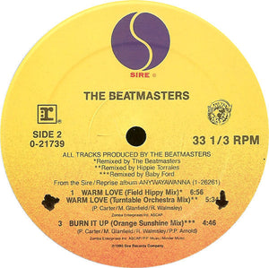 "The Beatmasters - Warm Love VG+ - 12"" Single 1990 Sire USA - House"
