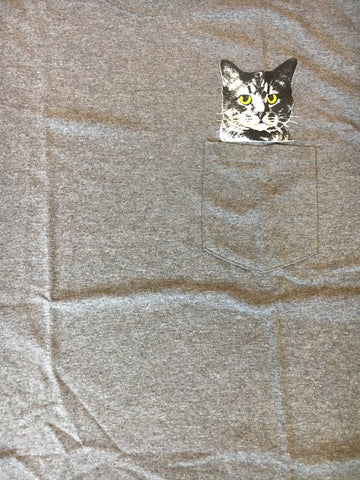 Starman Press Hidin'  Pocket Kitty Grey T-Shirt