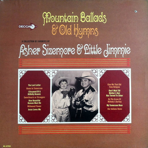 Asher Sizemore & Little Jimmie ‎– Mountain Ballads & Old Hymns - VG Lp Record 1966 Decca USA Mono Vinyl - Country