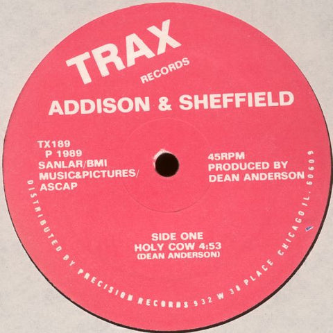 "Addison & Sheffield ‎– Holy Cow - VG+ 12"" Single Record 1989 Trax USA Vinyl - Chicago House / Hip-House"