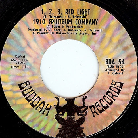 1910 Fruitgum Company ‎– 1, 2, 3, Red Light / Sticky, Sticky - VG+ 45rpm 1968 Buddah Records USA - Rock / Pop