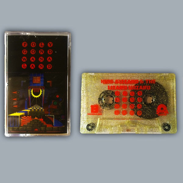 King Gizzard & The Lizard Wizard - Polygondwanaland - New Cassette 2017 Shuga Exclusive Clear With Gold Glitter Double sided four panel J card - Psych / Garage