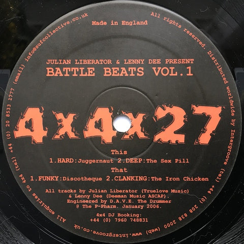 "Julian Liberator & Lenny Dee ‎– Battle Beats Vol. 1 - New 12"" Ep Record 2006 4 x 4 Recordings UK Import Vinyl - Techno"