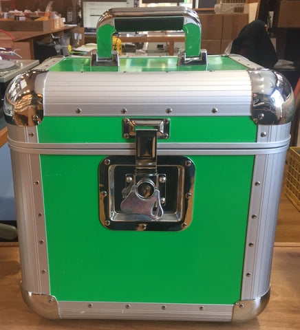 "Odyssey DJ Cases - Green Lime & Chrome Utility Flight Case for 12"" LP Vinyl Records"