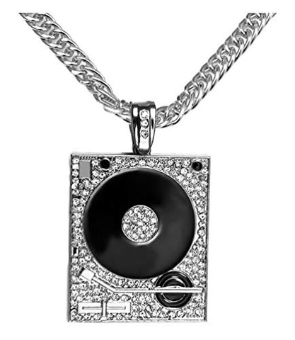 Technics 1200 DJ Turntable Stainless Steel 14K White Gold Plated Necklace