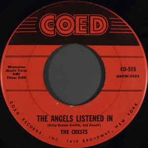"The Crest- The Angels Listened In / I Thank The Moon- VG 7"" SIngle 45RPM- 1959 Coed USA- Rock/Pop/Doo Wop"