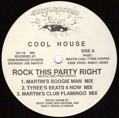 "Cool House ‎– Rock This Party Right - VG+ 12"" Single Record 1988 Underground USA Vinyl - Chicago Acid House"