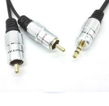 3 meter / 10 Feet - PURE 3.5 mm Stereo Audio Jack to 2 RCA Twin 24K Gold Cable Lead OFC - Shuga Records Chicago